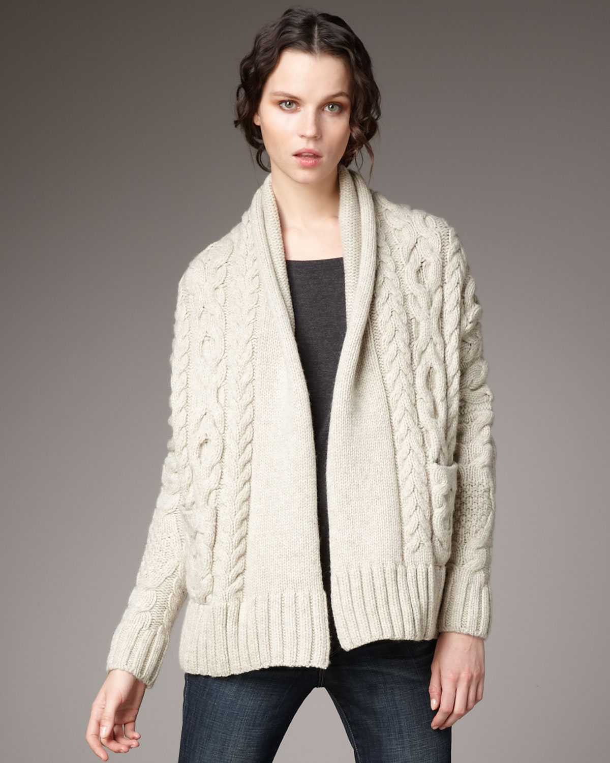 Vince Cocoon Cable Cardigan in Natural | Lyst