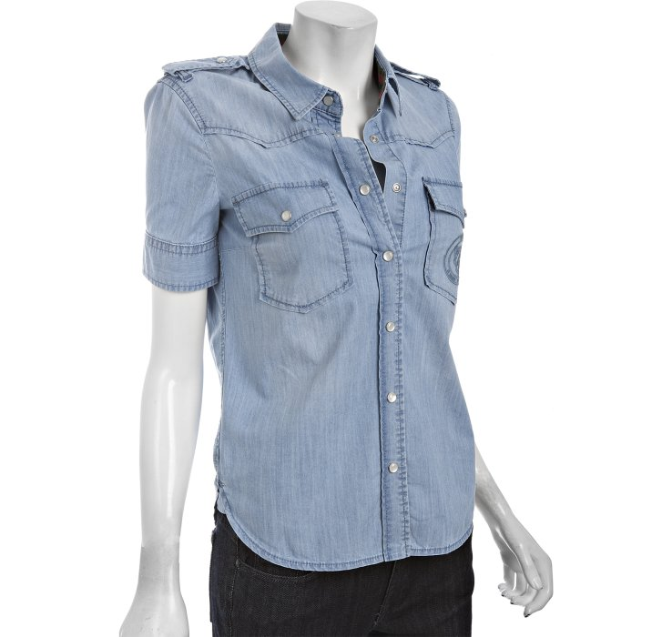 Gucci light blue denim western snap front shirt in blue lyst for Mens shirts with snaps instead of buttons