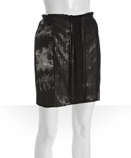 Mark + James By Badgley Mischka Black Cotton Stretch Tie Dye Combo Mini Skirt in Black