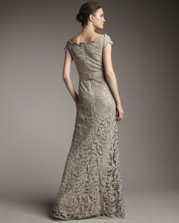 lace off shoulder gown - Green Tadashi Shoji bOIphw3uLq