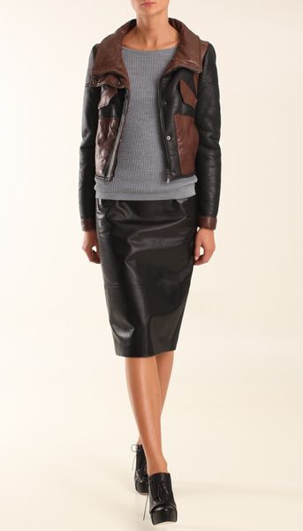 Tibi Shearling Biker Jacket in Black (black multi) - Lyst