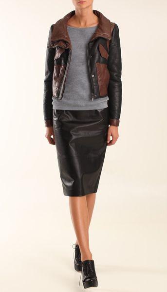 Tibi Shearling Biker Jacket in Black (black multi)