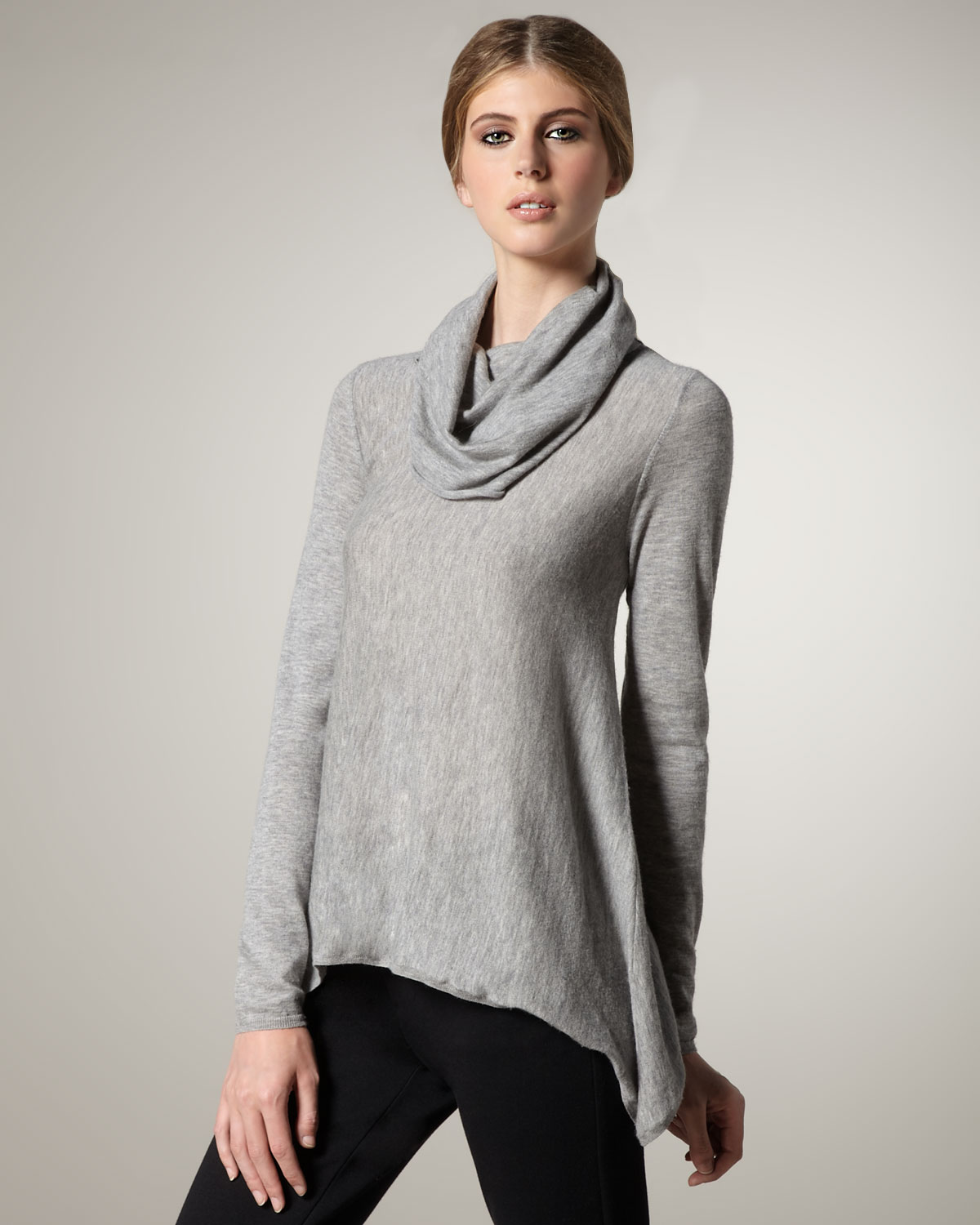 Alice   olivia Cowl-neck Sweater in Gray | Lyst