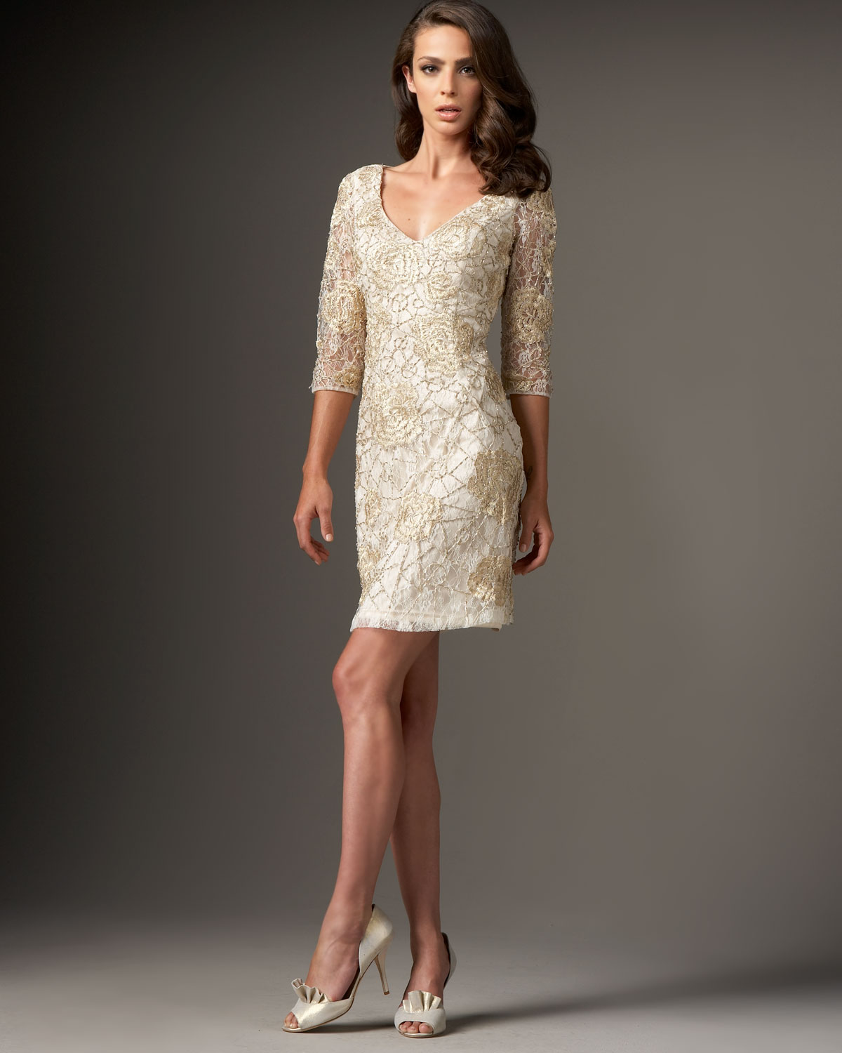 Sue wong Floral-lace Cocktail Dress in Natural | Lyst