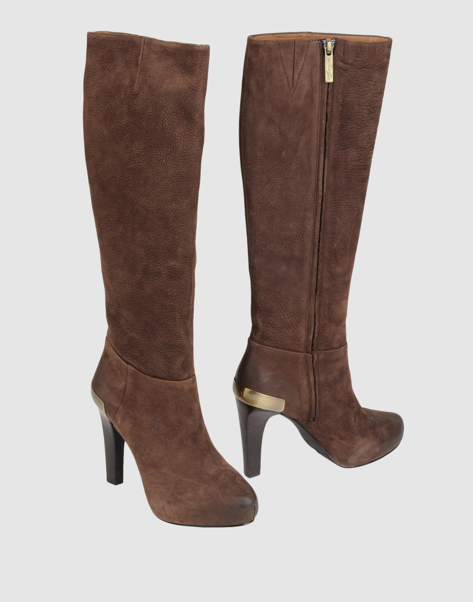 liu jo high heeled boots in brown lyst