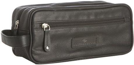 Joseph Abboud Black Leather Top Zip Travel Case in Black for Men