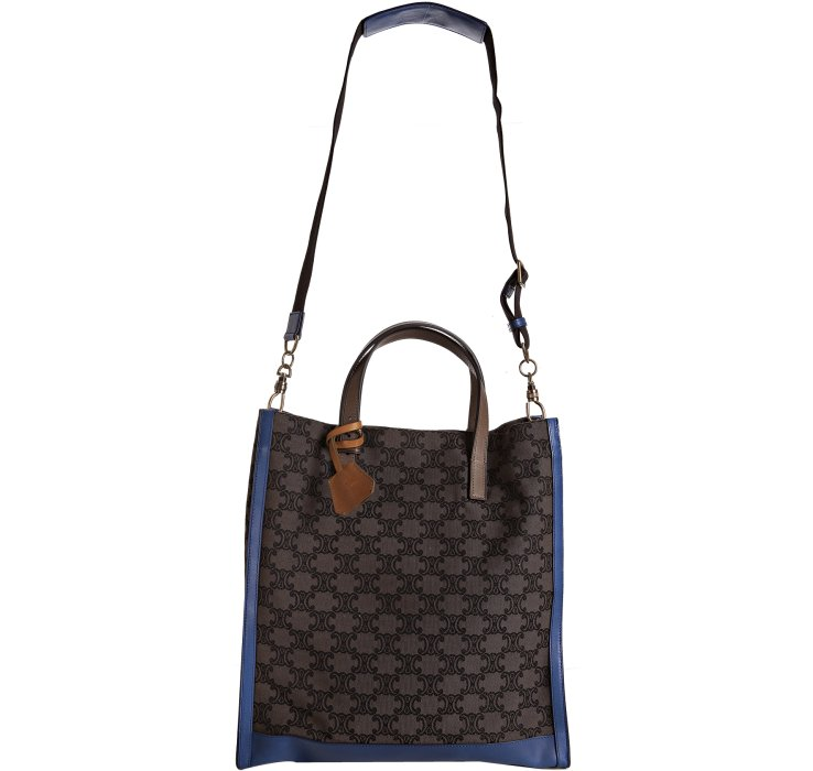 C��line Blue Logo Canvas Leather Trim Tote in Blue | Lyst