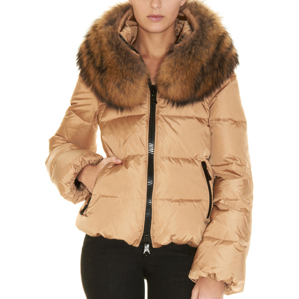 71416a118d02 Moncler Sauvage Fur Collar Coat in Natural - Lyst