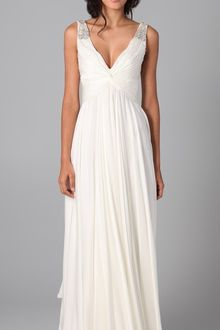 Reem Acra V Neck Gown with Jeweled Straps - Lyst