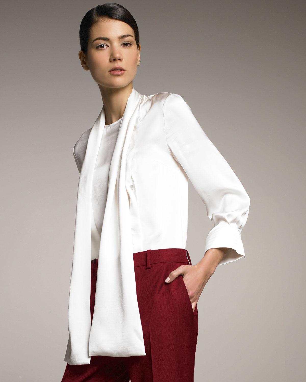 25e8d925509092 Lyst - Stella McCartney Necktie Silk Blouse in White