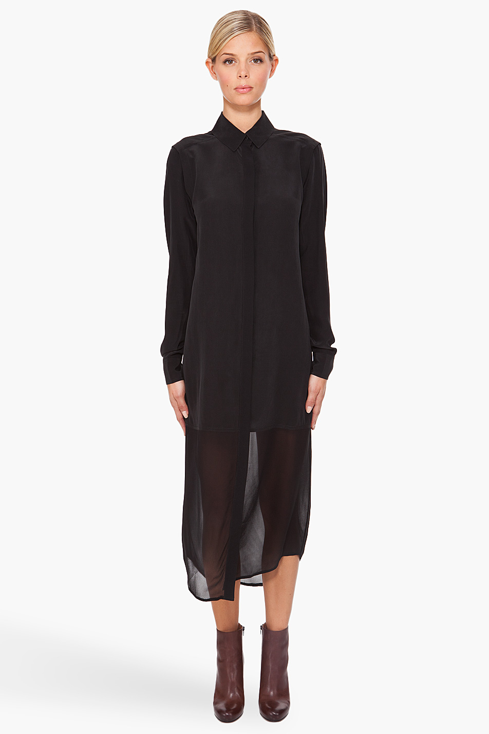 T by alexander wang Half-sheer Shirt Dress in Black   Lyst