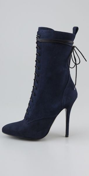 balmain lace up suede high heel boots in blue lyst