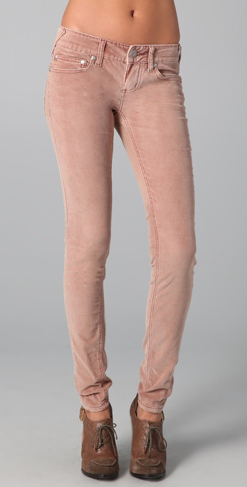 Free people Skinny Corduroy Pants in Pink | Lyst