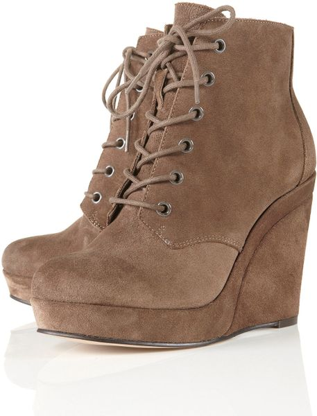 topshop andre taupe suede wedge lace up ankle boots in