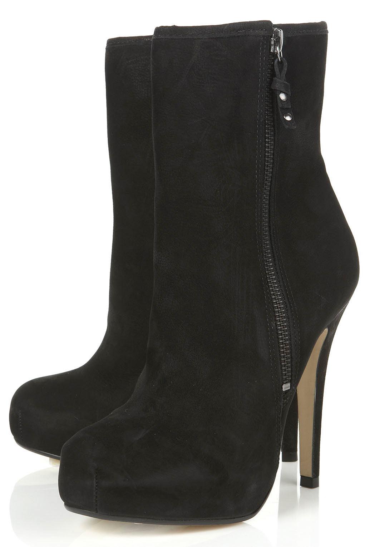 Topshop Annex Black High Leg Platform Heeled Boots in Black | Lyst