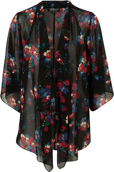 Topshop Black Sheer Floral Print Kimono Jacket In Floral