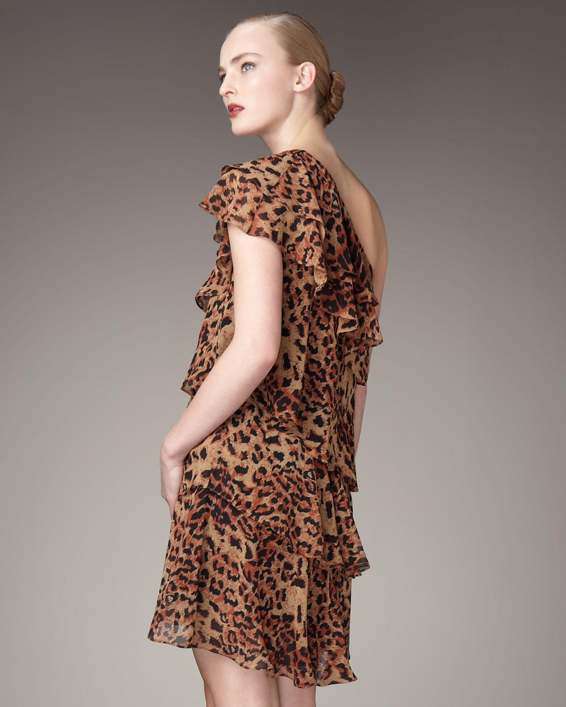 89b02bc1d0 Lyst - Rachel Zoe Ruffled Panther-print Dress