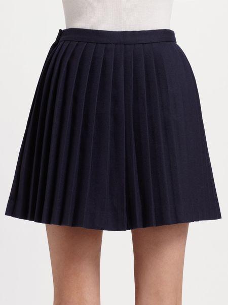 mcqueen pleated wool mini skirt in blue navy