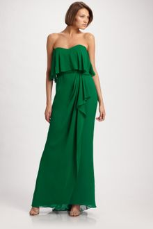 Badgley Mischka Strapless Tiered Gown - Lyst