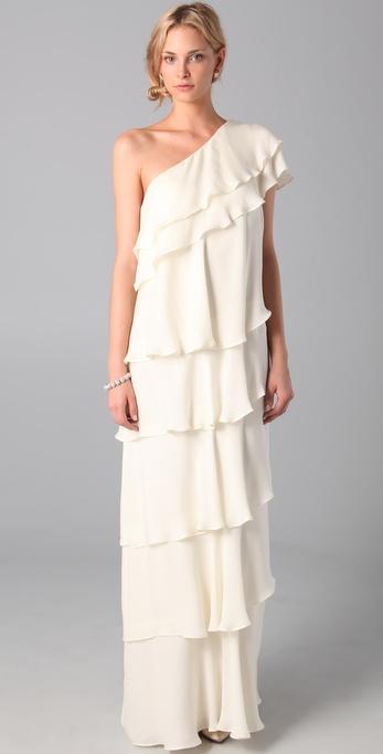 Lyst - Rachel Zoe Ruffle Maxi Gown in White