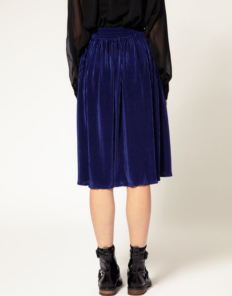 american apparel pleated midi skirt in blue cobalt lyst