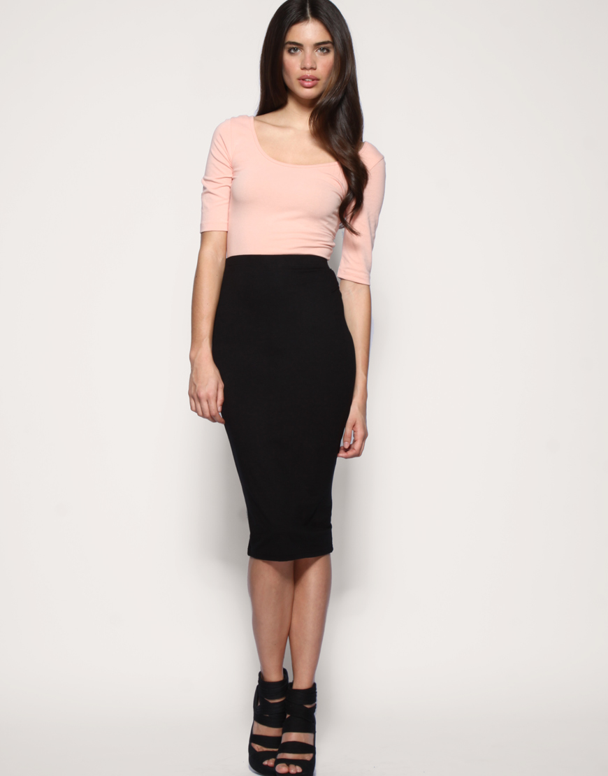 Asos collection Asos Jersey Pencil Skirt in Black | Lyst