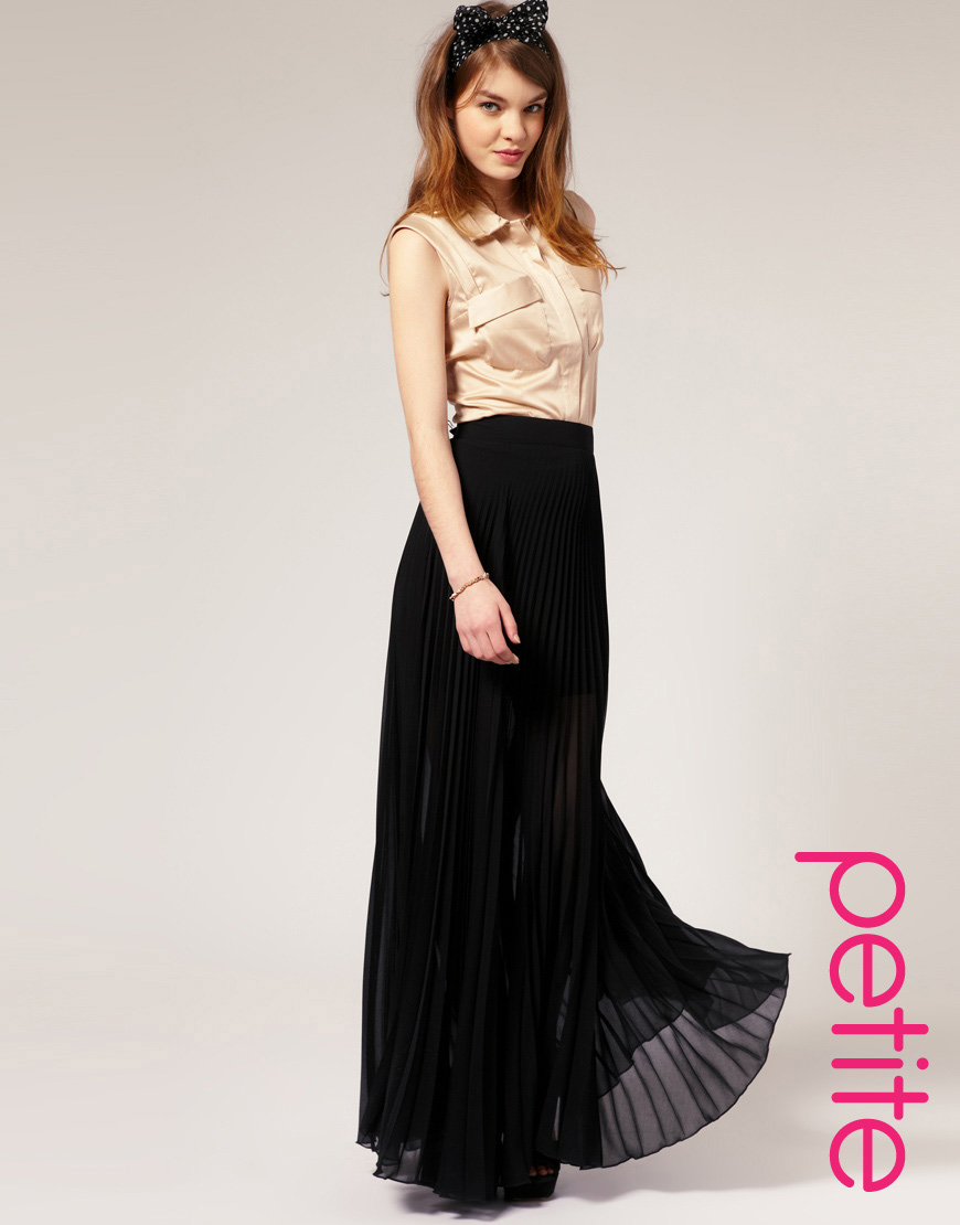 Petite long black skirt