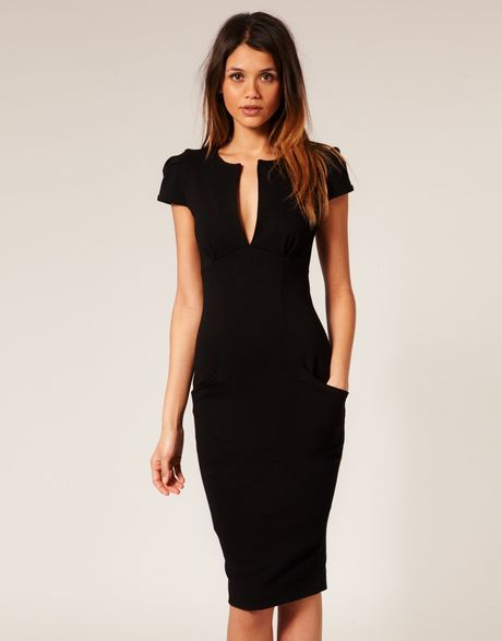 Asos Collection Asos Ponti Pencil Dress with Pockets in Black - Lyst