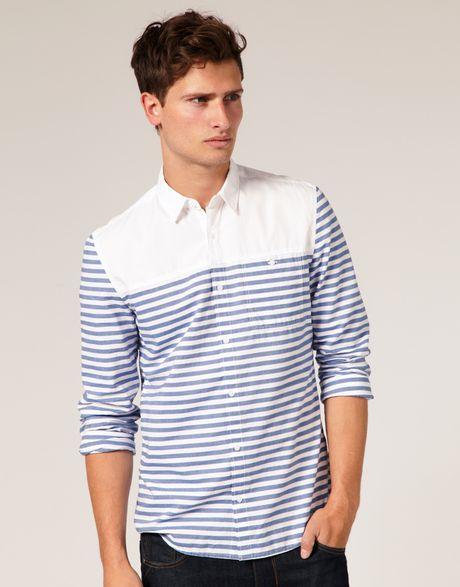 Asos collection asos horizontal breton stripe shirt in for Horizontal striped dress shirts men
