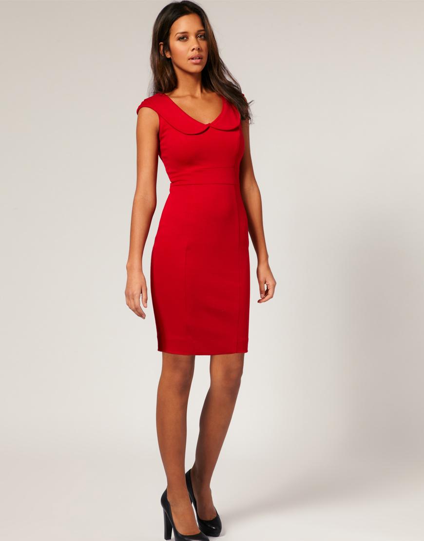 V neck red dress asos it