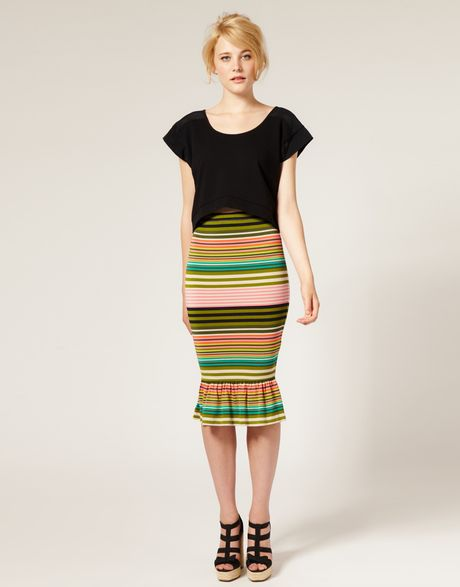 asos collection asos stripe fishtail pencil skirt in