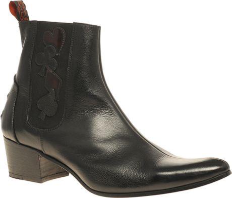Jeffery West Muse Cuban Heel Cards Chelsea Boots In Black