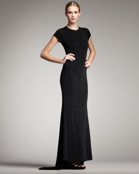 Alice + Olivia Rumor Openback Sparkle Gown in Black - Lyst