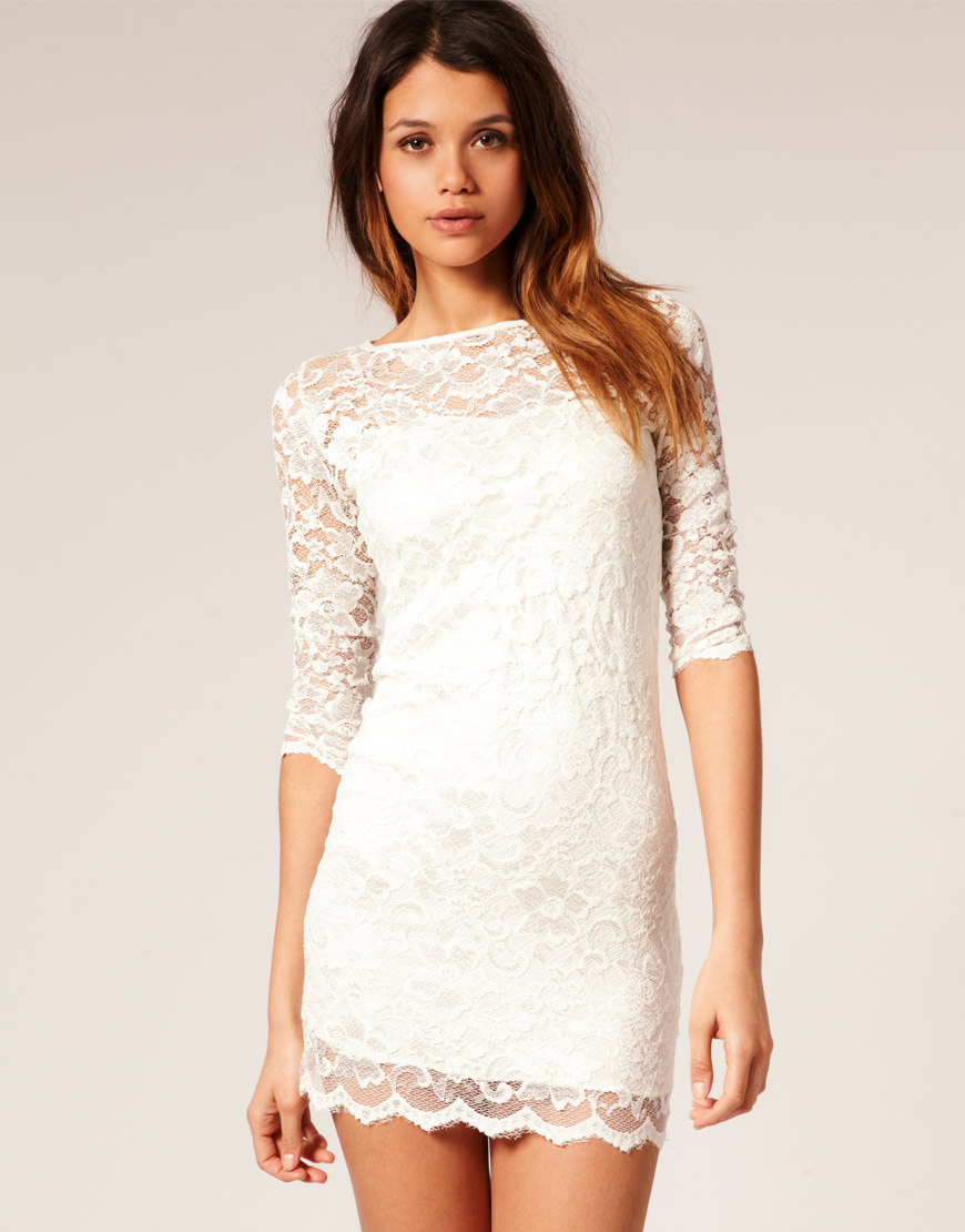 Lyst Asos Collection Asos Lace Bodycon Dress In White