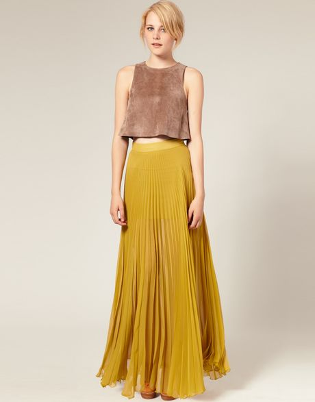 Asos collection asos pleated maxi skirt in yellow olive lyst