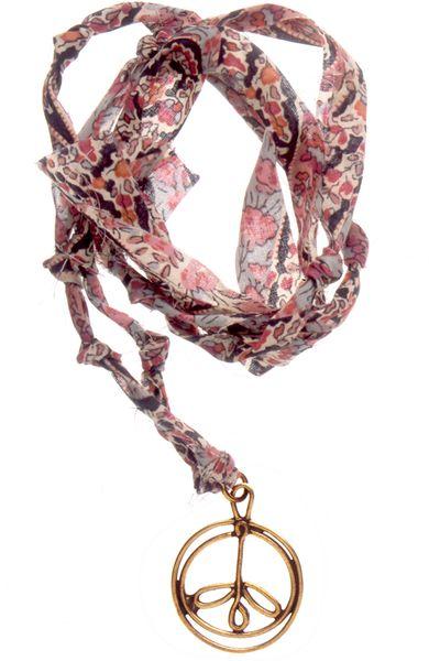 Aurelie Bidermann Charm Necklace Bronze On Pink Liberty Thread in Gold (bronze)
