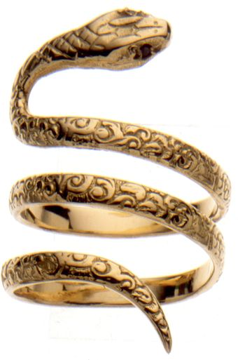 Gold Snake Ring, Set with Black Diamonds.  $3338 Sold Out.  Aurelie.