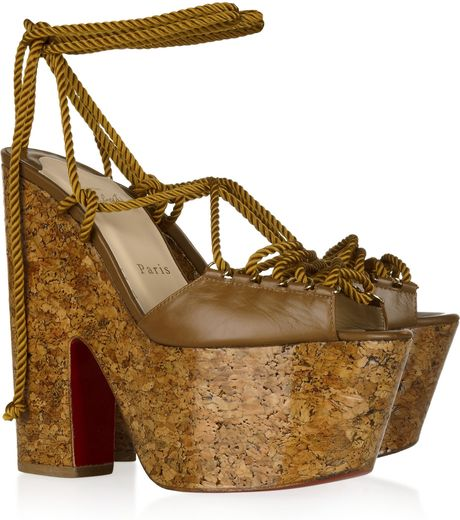 Christian Louboutin Jerry 160 Laceup Leather Sandals in Brown - Lyst