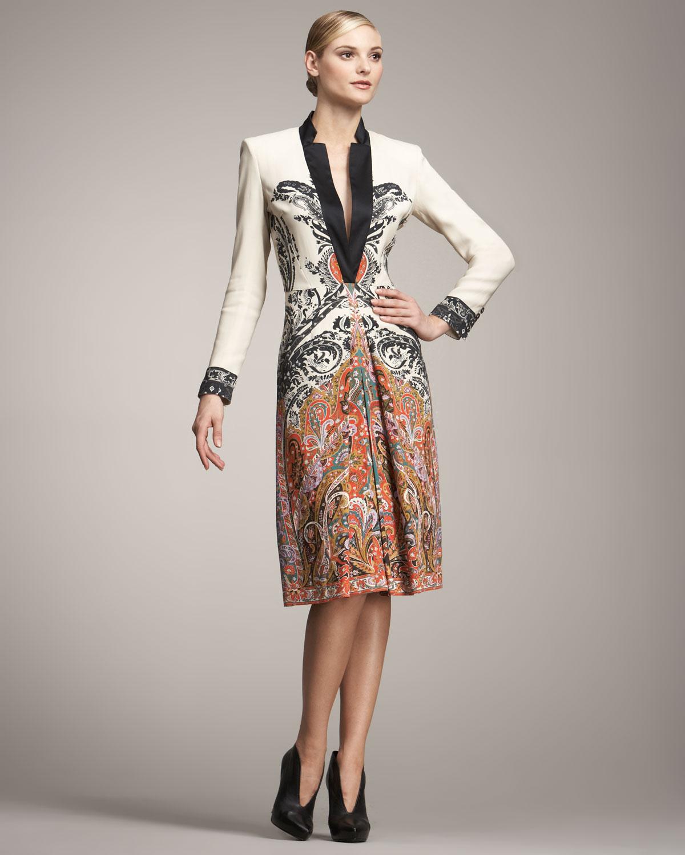 Etro Long-sleeve Coat Dress in Multicolor (ivory)