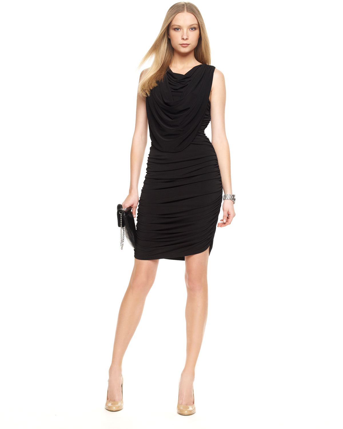Michael michael kors Open-back Ruched Dress in Black | Lyst