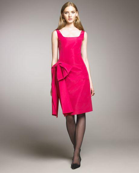 Oscar De La Renta Side-bow Cocktail Dress in Pink