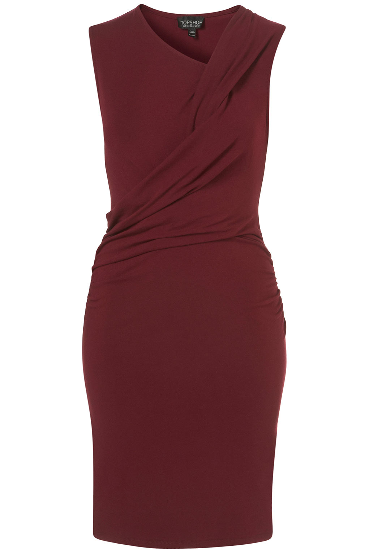 Topshop Wrap Ruch Bodycon Dress In Purple Burgundy Lyst