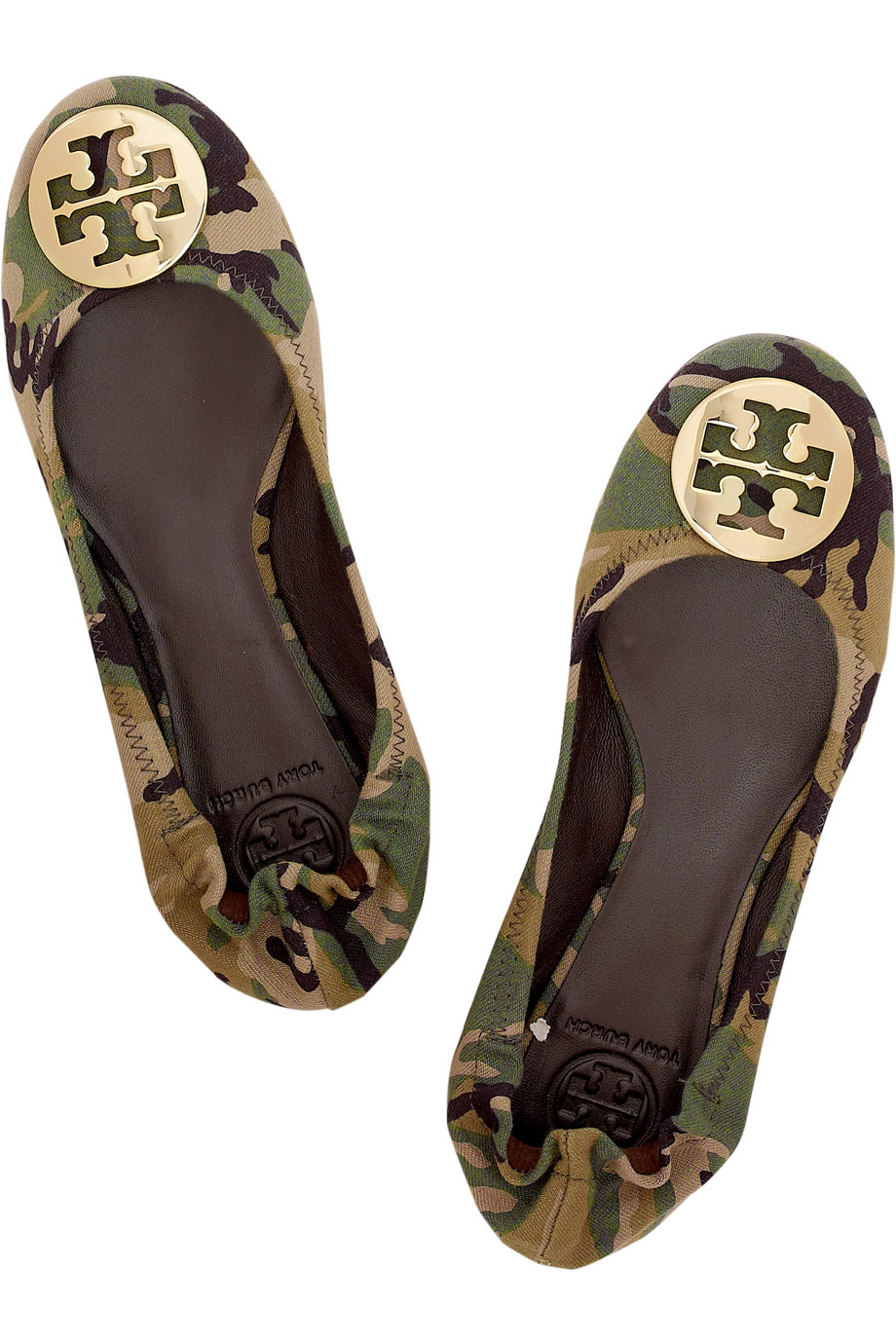 620518a25a2f Tory Burch Reva Camouflage Ballerina Flats in Green - Lyst