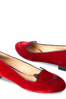 Charlotte Olympia Kitty Flat in Red