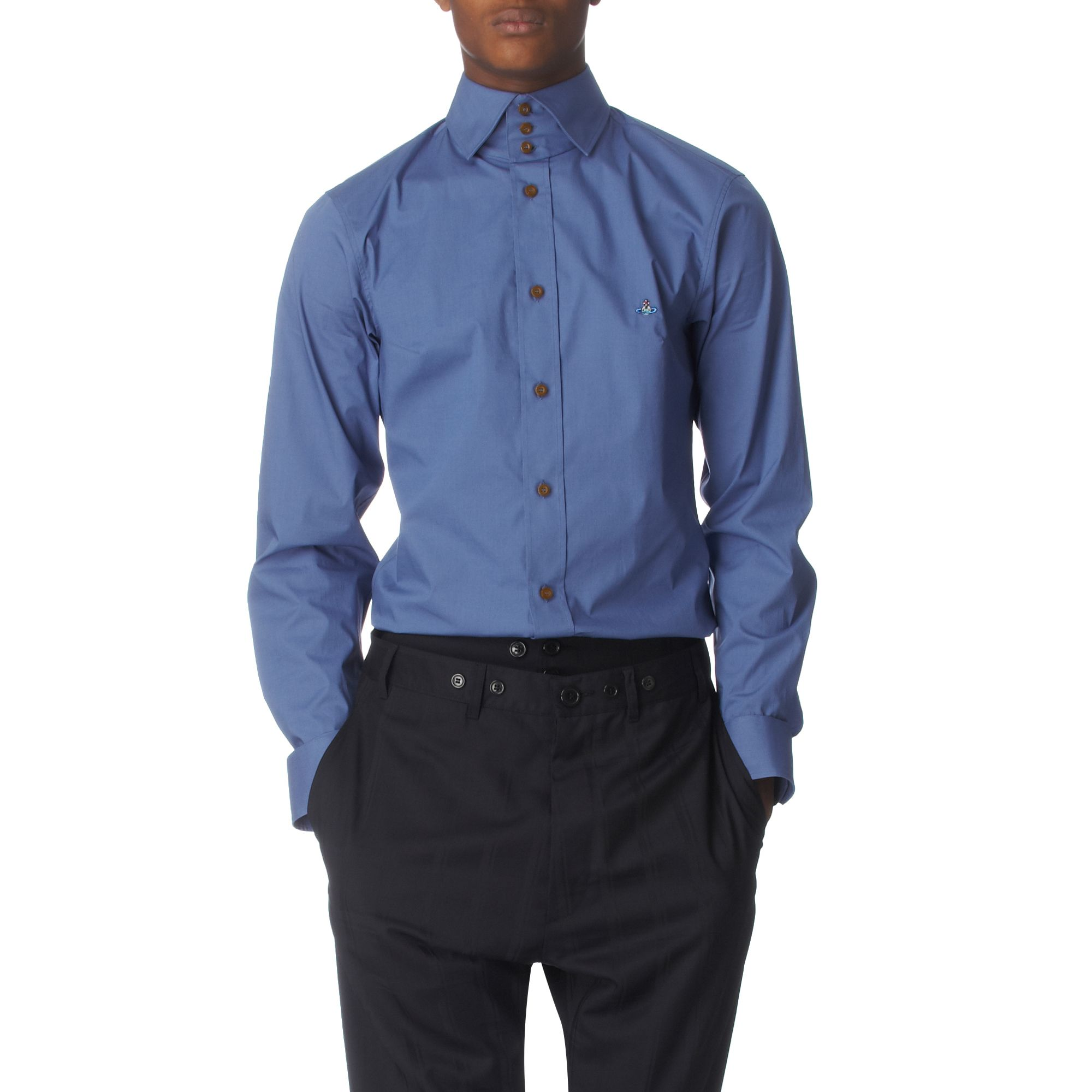 Vivienne Westwood Three Button Collar Shirt In Blue For