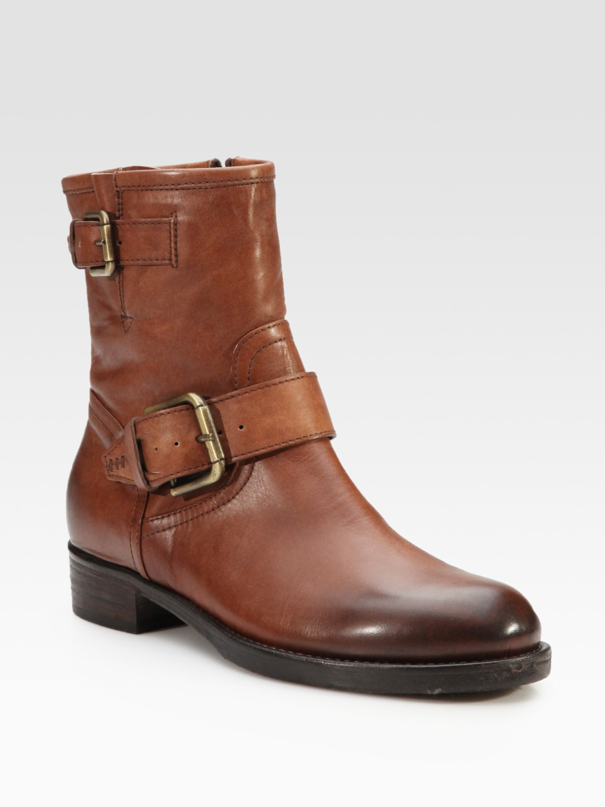 alberto fermani leather buckle ankle boots in brown