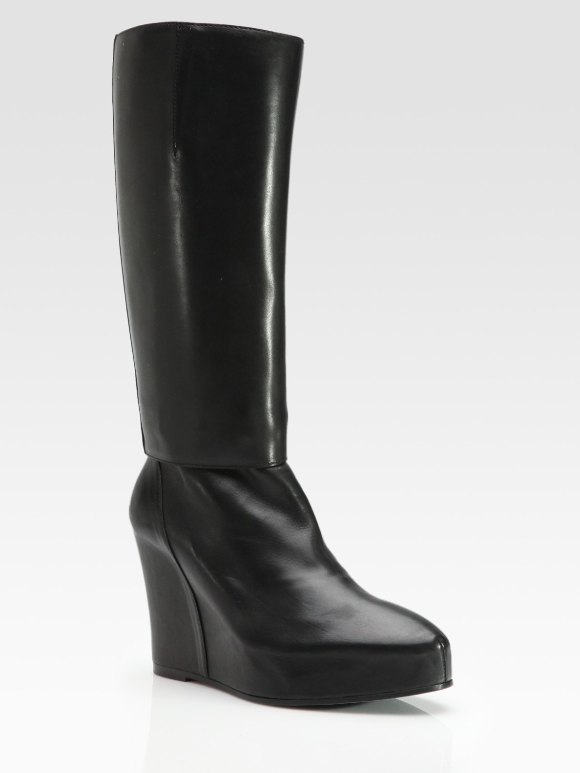 demeulemeester leather mid calf wedge boots in black