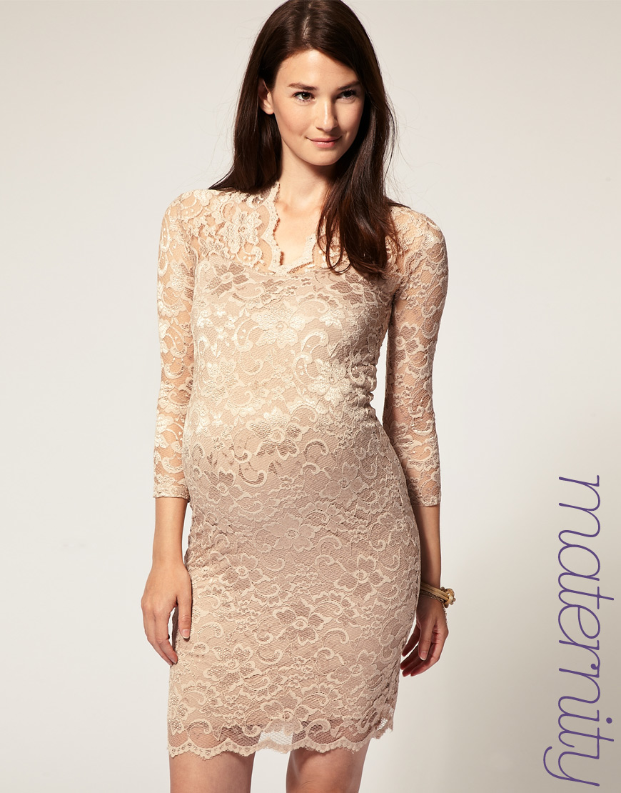 a9a7d538cdb2c ASOS Collection Asos Maternity Katie Lace Dress in Natural - Lyst
