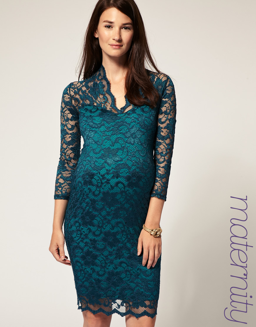 Lyst asos collection asos maternity katie lace dress in green gallery ombrellifo Image collections