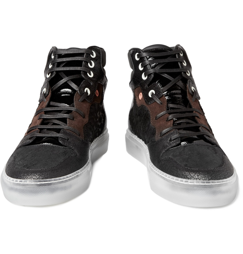 Balenciaga High Top Leather Sneakers in Black for Men